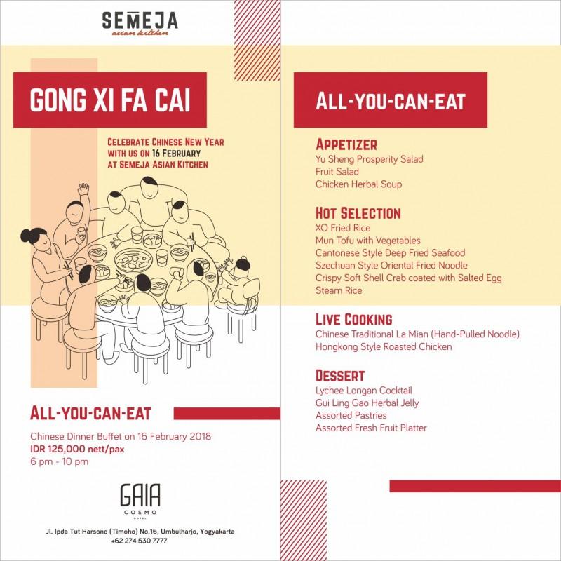 Rayakan Tahun Baru Imlek dengan Makan Malam Prasmanan Oriental di GAIA Cosmo Hotel