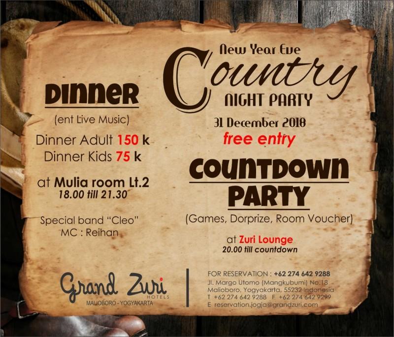 Grand Zuri Malioboro Gelar Country Night Party Pada Malam Tahun Baru 2019